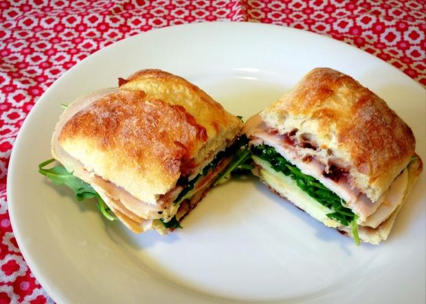 Rosemary Fig Jam, Turkey, Apple, Arugula Sandwich