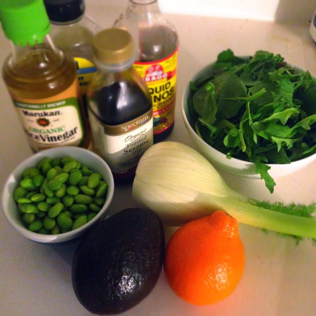 Arugula Salad with Tangelo, Edamame, Fennel, and Avocado - www.cloudthyme.com
