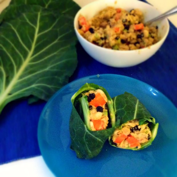 Collard Green Wraps with Cashew Chickpea Curry - www.cloudthyme.com