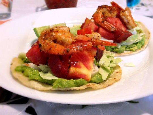 Avocado, Heirloom Tomato, and Prawn Tostadas - www.cloudthyme.com